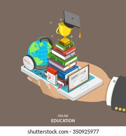 Online education isometric flat vector concept. Mans hand holds a mobile phone with education attributes like books, diploma, graduation hat. Distant learning service.