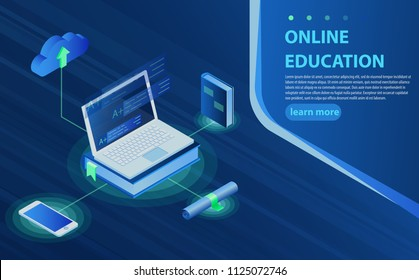 Online education isometric icons composition with laptop book smartphone electronic library and cloud computing conceptual. Isometric Online Training, Learning, Webinar, Education, Business Training.