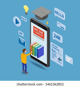 Online education isometric icons composition with little man taking books from smartphone electronic library online global education training courses, university studies and digital library. Landing