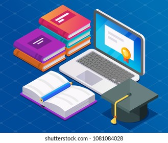 Online education isometric illustration. Laptop with books and student hat.