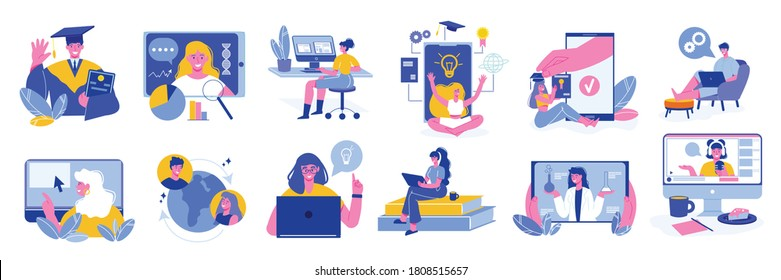 Online education learning set of isolated icons and characters of teachers and tutors with computer images vector illustration
