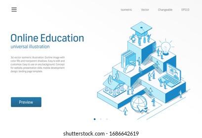 Online-Bildung. Lernen von Schülern Teamarbeit. Isomometrische E-Learning-Liniengrafik. Digitale Universität, Fernstudium, Symbol für virtuelle Bibliothek. 3-Vektorillustrationen-Hintergrund. Wachstumsschrittkonzept