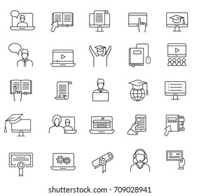Online education and learning thin line icons set. Study concept; web courses and video tutorials signs and symbols collection in linear style, vector illustration