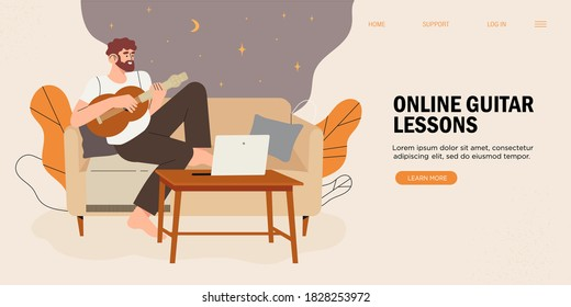 Online education, learning, training play the guitar, music lessons. Young man cartoon character sitting home with laptop watching video lesson and playing guitar. Creative hobby and leisure activity.