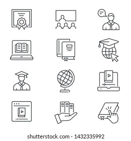Online education line icons. Set of education, webinar, distance, graduation cap, training and more. Vector illustration isolated for graphic and web design. Editable stroke.