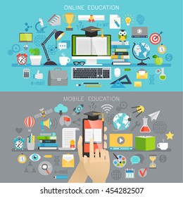 Online Education and Mobile courses concepts. Vector illustration.