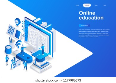 Online education modern flat design isometric concept. Learning and people concept. Landing page template. Conceptual isometric vector illustration for web and graphic design.