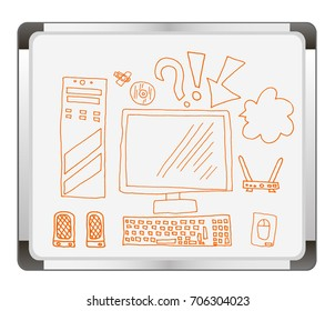 Online education on flip chart background. technology. Education icons. workplace logo. vector illustration