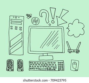 Online education on green background. technology. Education icons. workplace logo. vector illustration