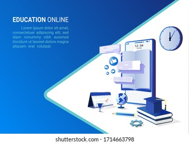 Online education on website and mobile website with book smartphone electronic library. Online training courses. conceptual vector illustration for web, graphic design, Landing page template