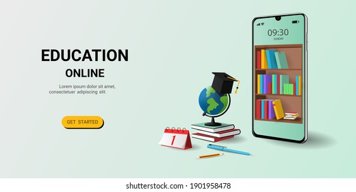 Online education on website and mobile application with book smartphone electronic library. Online training courses. Digital Library. Concept for web, graphic design, Landing page template. vector