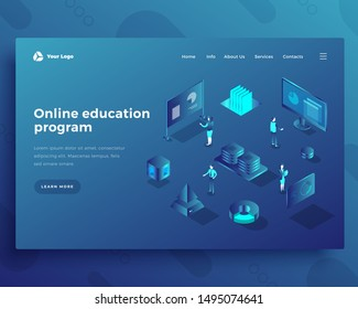 Online education program isometric landing page template. Global access to knowledge web banner. Self-study, e-learning opportunities. Internet education software promo website design layout