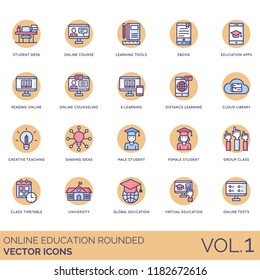 Online education rounded icon set. Student desk, course, ebook, app, reading, counseling, e-learning, cloud library, creative teaching, ideas, group class, timetable, university, global, virtual, test
