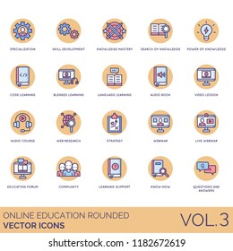 Online education rounded icon set. Specialization, skill, knowledge mastery, code, language, learning, audio book, video lesson, web research, strategy, webinar, forum, community, support, know-how.