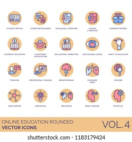 Online education rounded vector icons. Student profile, literature exchange, learning material, investment, marketing, vision, professional training, brainstorming, explore, mind mapping, mentoring.