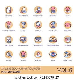 Online education rounded vector icons. Certificate, professor, scholarship, degree, award, first place, study success, graduation, mobile access, bookstore, browse course, best grade, wisdom, career.