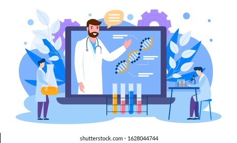 Online education of scientists vector illustration banner isolated. Lecturer teaches from laptop screen. Learning doctors students with microscope, flask. Dna molecule, genetic research virus vaccine