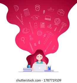 Online education, self learning concept vector illustration. Student studying with laptop. Educational supply line icons set.