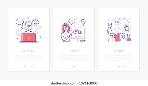 Online education - set of line design style vertical web banners with copy space for text. Call center operator at laptop, woman at flip chart, man making speech. Services, training, seminar concepts