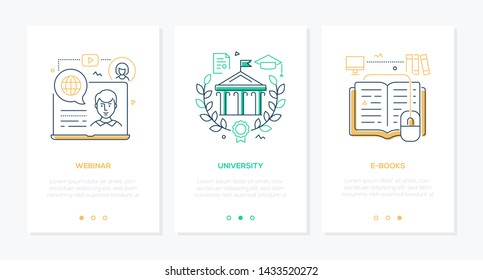 Online education - set of line design style vertical web banners on white background with copy space for text. Images of a laptop, building, reader with a mouse. Webinar, university, e-books themes