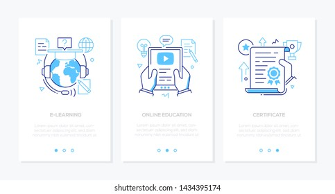 Online education - set of line design style vertical web banners with copy space for text. Images of a globe, academic cap, video tutorial on tablet, award, document. E-learning, certificate concepts