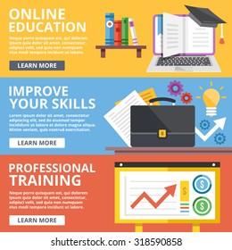 Online education, skills improvement, professional training flat illustration concepts set. Modern flat design concept for web banners, web sites, printed materials, infographics. Vector illustration