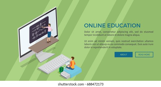 Online education template vector web banner in flat design of teacher near blackboard, computer screen and boy with laptop on flash drive