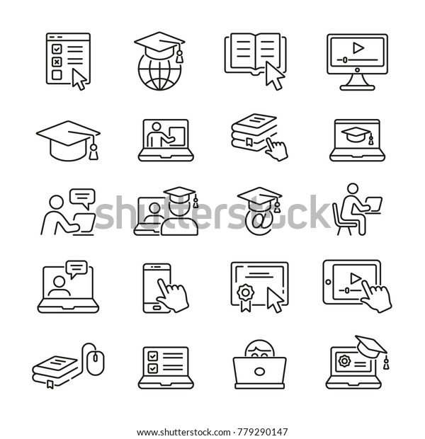 Online Education: thin vector icon set, black and white kit