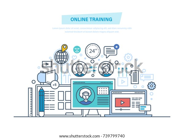 Online Education Training Courses Elearning Distance Stock Vector Royalty Free 739799740