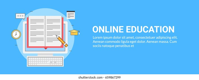 Online education, tutorial, and training. Thin line vector banner with icons