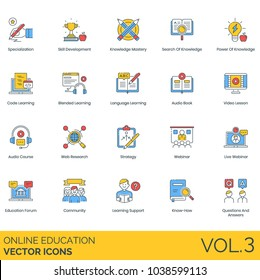 Online education vector icons. Specialization, skill development, knowledge mastery, coding, blended learning, language, audio book, video lesson, web research, strategy, webinar, forum, community.