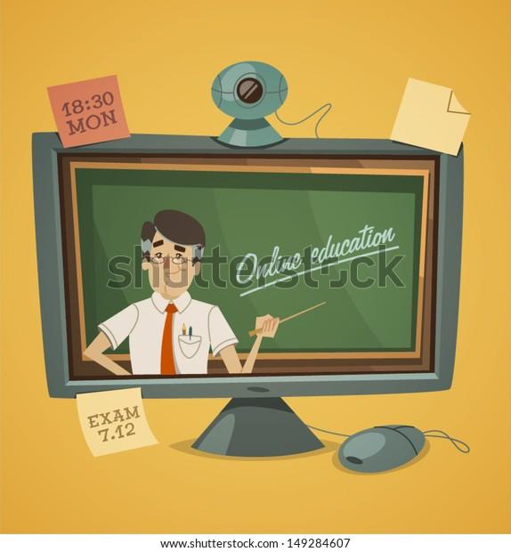 Online education. Vector illustration.