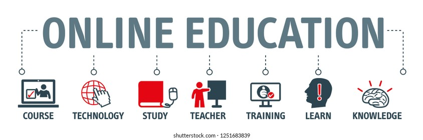 Online education vector illustration concept banner with icons and keywords