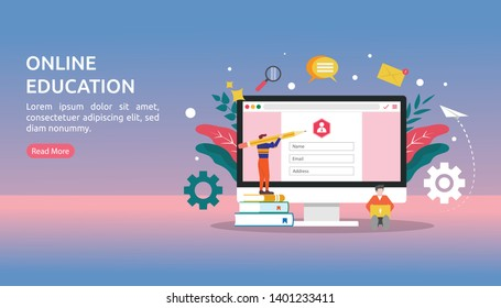 Online education vector illustration concept, tiny people character register to join e-learning on website page. can use for landing page, template, ui, web, homepage, poster, banner, flyer, app