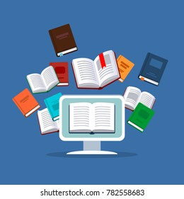 Online education. Vector illustration concept. E-books, internet courses and graduation process.