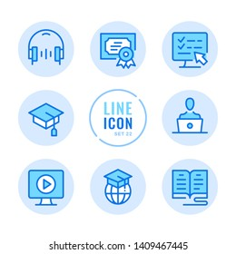 Online education vector line icons set. Book, computer, graduation hat, headphones, diploma outline symbols. Modern simple stroke graphic elements. Round icons