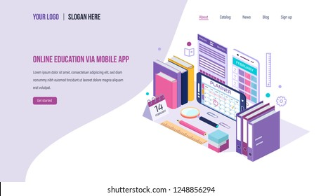 Online education via mobile app. ?alendar, electronic schedule education, teaching classes. Distance e-learning courses, training planning, webinar, lectures. Landing page template. Isometric vector.