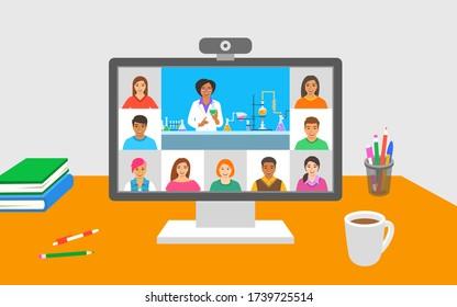 Online-Bildung virtuelle Chemie-Klasse Telekonferenz. Junge Schüler bleiben zu Hause und sehen sich vom Lehrer Videostunden an. Das Fernunterricht mit dem Coronavirus-System wird blockiert. Studienprogramm zu Hause