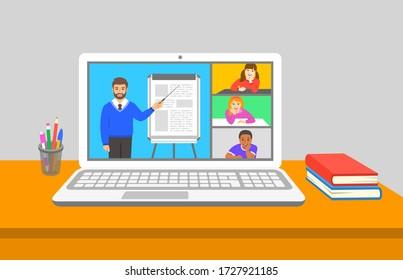 Online-Bildungskonferenz der virtuellen Klasse Kinder bleiben zu Hause und sehen männliche Lehrer beim Sprechen zu und zeigen auf Flipchart. Fernunterricht während des Absturzes des Coronavirus. Schulprogramm von zu Hause