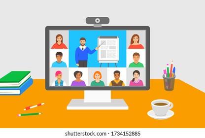 Online-Bildungskonferenz der virtuellen Klasse Junge Schüler bleiben zu Hause und sehen sich vom Lehrer Videostunden an. Fernunterricht während des Absturzes des Coronavirus. Studienprogramm zu Hause