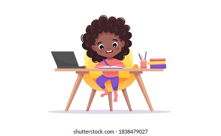 Online education website template. E-learning concept banner. Afro-american black girl sits at table and studies online with laptop. Vector flat cartoon illustration with hand-drawn doodle elements