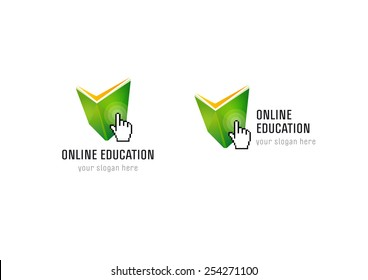 Online educational logo. Open green book, pointing hand palm, radio waves. Internet network virtual school icon. Vector sign with pixel elements.