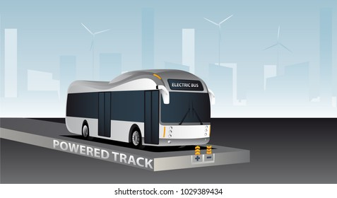 Online electric vehicle. Bus on a powered track with contactless induction charging. Vector illustration