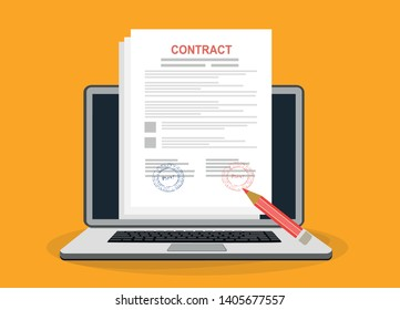 Online electronic documents on laptop vector illustration, flat cartoon paper document with signature on computer screen, concept of digital or internet office, on-line deal, web paperwork