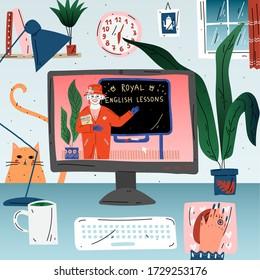 Online-Englischstunde auf dem Bildschirm