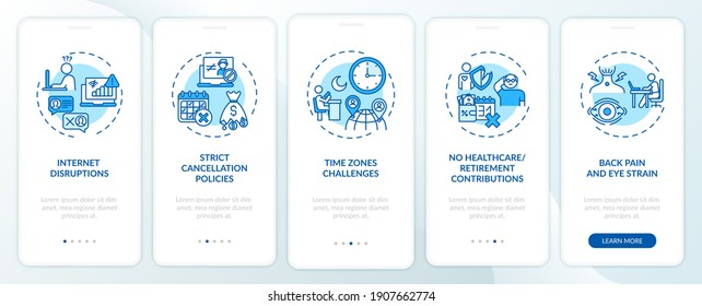 Online english teaching challenges onboarding mobile app page screen with concepts. Strict cancellation policy walkthrough 5 steps graphic instructions. UI vector template with RGB color illustrations