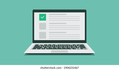 online exam choice or survey concept on laptop computer, checklist document on browser window, flat vector illustration