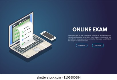 Online exam computer web app. Isometric laptop with paper document printing from screen and phone. Online test or opinion checklist. Computer tests and examination paper.