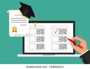 Online exam concept, taking test. Education. Vector flat illustration