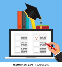 Online exam concept, taking test. Education. Vector flat illustration